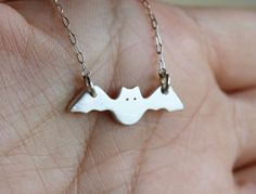 HALLOWEEN Special Silver Bat Necklace by JwJSilver on Etsy, $37.00