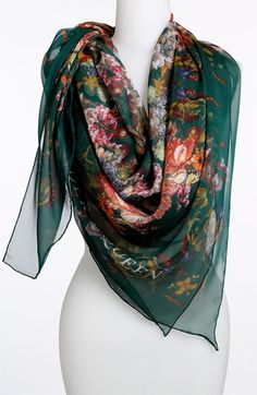 54664afecd59 Alexander McQueen  Vermeer Skull  Silk Scarf available at  Nordstrom  Chapeau, Foulards,