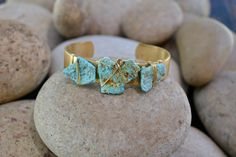 LUX Three Stone Stacking Gold Brass Bracelet Bohemian by luxdivine, $45.00