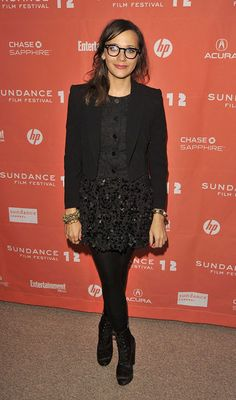 Celebs Hit Sundance 2012 in Style — See What Everyones Wearing: Rashida Jones opted for her signature geeky-chic specs and a cool, textured take on black in a Theyskens Theory blazer and floral-appliqué miniskirt over tights at the Celeste and Jesse Forever premiere.