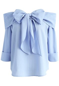 Miraculous Stripe Off-shoulder Top in Blue - New Arrivals - Retro, Indie and Unique Fashion