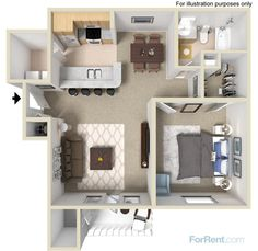 A one-bedroom, one-bath apartment home with 800 square feet of living space   Room Planner   360 Degree View