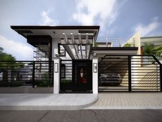 A terrace is a raised platform that is fully supported by the rest of the house's facade. Having a terrace built as a part of the exterior of a house may House Front Design, Roof Design, Modern House Design, Exterior Design, Gate Design, Exterior Colors, Terrace House Exterior, Facade House, House Exteriors