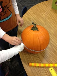 Fun Hands on Fall Math Ideas ... Circumference, weight, height.  Investigate inside then what a great way to end the activities with pumpkin bread or pumpkin treat