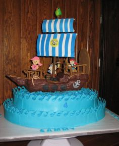 The boat is  carved out of cereal treats and covered in modeling chocolate. people are gum paste.  Everything is edible. Sails are fondant.