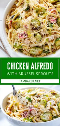 This Chicken Alfredo with Brussel Sprouts is the easiest version you will ever make! There are so many amazing flavors in this dish. The addition of brussel sprouts takes this comfort food to a whole new level that even kids will gobble up! Try this recipe for dinner! Pasta Sauce Recipes, Spaghetti Recipes, Chicken Recipes, Cozy Meals, Alfredo Recipe, Best Comfort Food, Chicken Alfredo, Sprouts, Entrees
