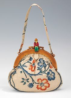 Purse | French | The Met | 1930–40 Culture:French Medium:silk, plastic Credit Line:Brooklyn Museum Costume Collection at The Metropolitan Museum of Art, Gift of the Brooklyn Museum, 2009; Gift of Rodman A. Heeren, 1962 Accession Number:2009.300.2507