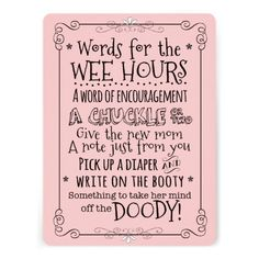 Baby Shower Diaper Activity Card Sign~ A fun activity for a baby shower - display this card along with a stack of diapers and markers for guests to write messages to the Mom-to-be. She'll surely appreciate all the words of encouragement from her friends and family during those late night diaper changes! Features a chalkboard lettering style on sweet girly with an eclectic mixture of font and style, the look is playful and welcoming. (boy/blue option too)