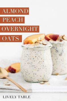 These almond peach overnight oats are a healthy and delicious make-ahead breakfast that celebrates the best of summer peaches! Get all the recipe details for this gluten-free and vegetarian friendly recipe. Healthy Summer Recipes, Healthy Gluten Free Recipes, Healthy Breakfast Recipes, Brunch Recipes, Vegetarian Recipes, Peach Overnight Oats, Best Overnight Oats Recipe, Make Ahead Breakfast, Breakfast Ideas