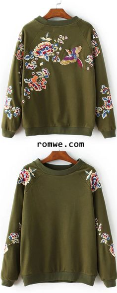Up to 90% Off - Army Green Floral Embroidery Crew Neck Sweatshirt