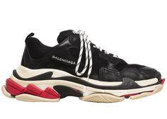 BestVIPQ Balenciaga Triple S Sneakers Black White Red Unisex Herren Damen Balenciaga Laufschuhe Turnschuhe Sneakers Mode, Girls Sneakers, Casual Sneakers, Sneakers Fashion, Vintage Sneakers, Vintage Shoes, Balenciaga Trainers, Balenciaga Speed Trainer, Balenciaga Shoes Mens
