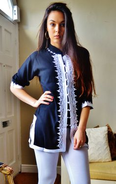 Black and White Moroccan Tunic-perfect for birthday gifts, holiday wear, casual wear, mother's day Hippy Chic, Holiday Wear, Black Trousers, White Embroidery, Tunic Shirt, Couture, Winter Dresses, African Fashion, Casual Wear
