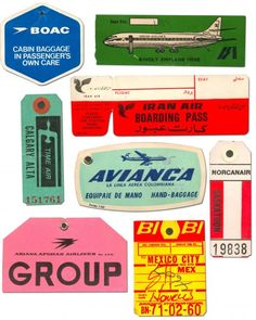 vintage luggage tags courtesy of Jonathan/Graphic Definer Vintage Luggage Tags, Luggage Labels, Vintage Labels, Vintage Posters, Tag Luggage, Vintage Packaging, Vintage Ephemera, Lettering, Typography Design