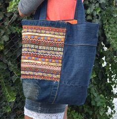 Denim Tote / Denim Handbag / Grocery Bag / Ethno Tote Bag / Denim Handbag / Recycled Tote / Boho Hippie Bag by PrettyMarry on Etsy https://www.etsy.com/listing/477689807/denim-tote-denim-handbag-grocery-bag