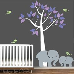 Baby Room Tree Wall Decal with Mommy or Daddy Elephant and Baby Elepha – Decals By Delia