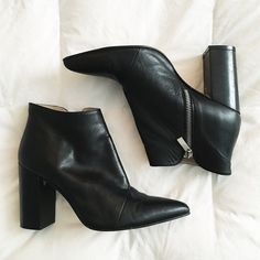 Zara - Black Basic Collection Bootie Zara Black Basic Collection Bootie, size 38 EU (7.5-8 US). EUC - great condition, worn twice with only sign of wear on the bottom of the shoes themselves and can be cleaned before they are shipped out. $85 OBO. Zara Shoes Ankle Boots & Booties
