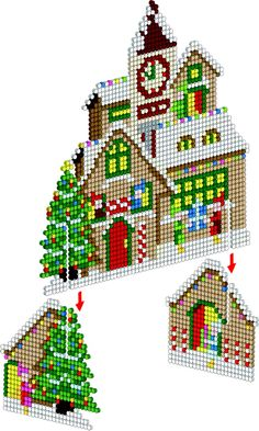 3D Santa's Workshop - Christmas Perler Project Pattern
