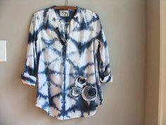 Shibori Hand Dyed Tunic, Spring Fashion, Indigo Blue Refashioned Blouse, Artsy Bohemian Hippie Prairie Chic Top, Eco Clothing, Womens Medium