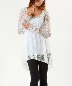 Look at this #zulilyfind! Aziza White Floral Lace Tunic & Camisole by Aziza #zulilyfinds