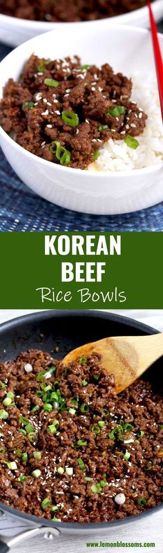 This Korean Beef is savory sweet and a bit spicy. Very easy to make budget friendly and ready in 20 minutes! This delicious and simple ground beef recipe is the perfect meal for busy weeknights! Healthy Beef Recipes, Healthy Indian Recipes, Ground Beef Recipes, Lunch Recipes, Easy Dinner Recipes, Asian Recipes, Vegetarian Recipes, Easy Meals, Easy Recipes