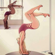 Beautiful illustrations from real life photos, simply mind blowing! Pole Fitness Moves, Pole Dance Moves, Pole Dancing Fitness, Barre Fitness, Fitness Exercises, Pin Up Drawings, Dancing Drawings, Dance Photography, Creative Photography