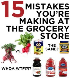 15 Mistakes You're Making At The Grocery Store. You'll probably find at least one thing useful here. Weight Loss Meals, Cocinas Kitchen, Frugal Tips, Food Facts, Utila, Kitchen Hacks, Kitchen Ideas, Kitchen Stuff, Baking Tips