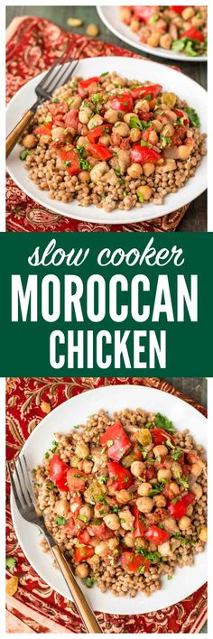 Slow Cooker Moroccan Chicken recipe — your crockpot does all the work! An easy recipe for busy days. Made with warm spices, chickpeas, juicy chicken, golden raisins, and fresh veggies. This recipe is healthy, super cheap, and if you use rice or quinoa, it's gluten free! Get the recipe from www.wellplated.com @wellplated