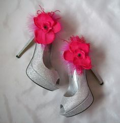 Cerise Pink Orchid Shoe Clips. Order Now from www.indigodaisyweddings.co.uk Specialising in stunning bespoke cocktail fascinators and formal hats in a wide range of colours, perfect for Royal Ascot and The Kentucky Derby. Plus all your wedding floral accessories including shoe clips, vintage flapper bands, feather and flower fascinators, feather fans, fairy wands, wrist corsages, wedding bouquets & buttonholes. Worldwide Delivery.