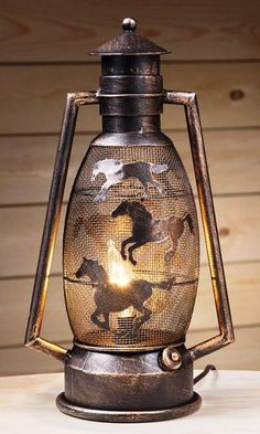 western home decor Western Running Horses Metal Lantern Lamp Western Lamps, Western Bedroom Decor, Western Living Rooms, Rustic Western Decor, Rustic Bedrooms, Horse Bedrooms, Cowboy Bedroom, Western Decorations, Western Style
