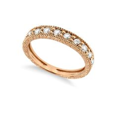 Allurez Vintage Style Diamond Wedding Ring Band Half-Way 14k Rose Gold... ($800) ❤ liked on Polyvore featuring jewelry, rings, eternity band ring, antique wedding rings, 14k diamond ring, rose gold ring and round wedding rings