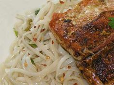 O : Pan-seared Salmon With Thai Rice Noodles Gf