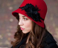 Inspi Theodora from Oz the great and powerful - Red Cloche Hat  With Black Ribbon Floral Accent / bethanylorelle