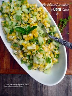 Basil Chive Cucumber & Corn Salad - Since I prefer sweet corn uncooked, I'd use raw as well as organic Vegenaise instead of the lite mayo.