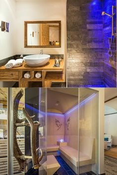 Exclusive and luxurious apartments in the alpinlodge & spa in Samnaun Switzerland in the Ski Resort Silvretta Arena. Luxury and panoramic views Wellness Spa, Bathroom Spa, Luxury Spa, Apartment Design, Contemporary Design, Mirror, Architecture, Water, Home Decor