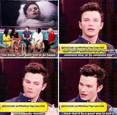 Chris, we all want it for Kurt. We all want it so much. #HappyKurt