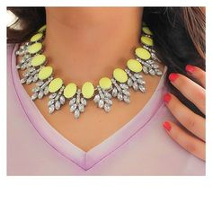 Cute yellow necklace for $18. Yellow + Lilac outfit.  Viva la Jewels — Yellow Statement Necklace with Silver Chain from Viva La Jewels