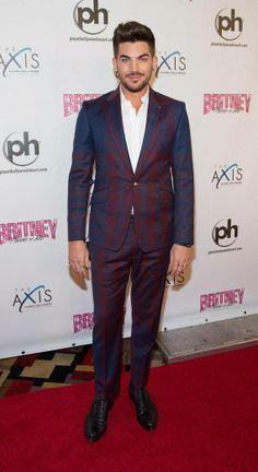 Adam Lambert wearing Vivienne Westwood's MAN Giant Tartan Insert Suit in navy and bordeaux.  The suit: http://www.garmentquarter.com/vivienne-westwood-man-giant-tartan-insert-suit-jacket-navy-bordeaux.html