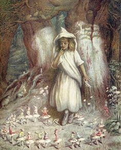 'The Elf-ring' by Kate Greenaway. Plate from 'Kate Greenaway' by M. Spielmann & G. Published by Adam & Charles Black. Fairy Land, Fairy Tales, Fairy Dust, Troll, Vintage Fairies, English Artists, Children's Book Illustration, The Elf, Faeries