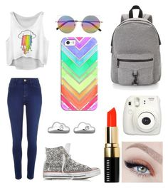 """""""Somewhere Over the Rainbow☁️"""" by marin-marine ❤ liked on Polyvore featuring Converse, Linda Farrow, River Island, Casetify, Links of London, Rebecca Minkoff and Bobbi Brown Cosmetics"""