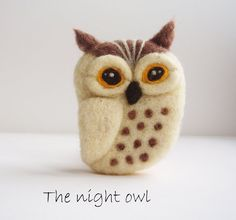 Wool Felted Night Owl Brooch