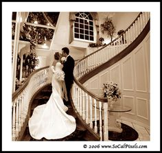 Sneaking a kiss on the steps.