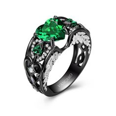 Black Gold Ring Vintage Black Angel Wing Engagement Ring for Women with Heart Cut Green Cubiz Zirconia - Crystal Engagement Rings, Gothic Engagement Ring, Vintage Engagement Rings, Vintage Rings, Vintage Heart, Black Angel Wings, Black Angels, Silver Wedding Rings, Wedding Rings For Women