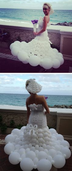 Wedding dress made from white balloons. This is so funny to me. I can think of like 10 jokes just looking at this pic.