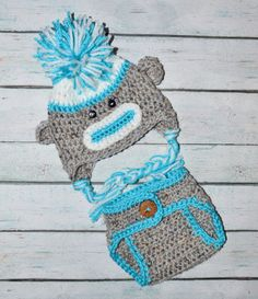 newborn boy sock monkey hat & diaper cover by SweetBabiesinYarn, $30.00