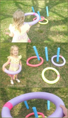 Easy to Make Backyard Games- Pool noodle Ring Toss
