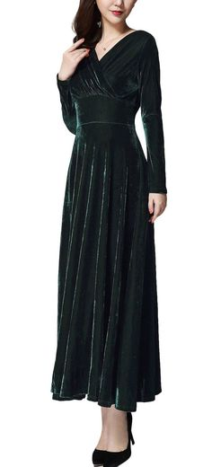 Urban CoCo Women long sleeve V-neck Velvet Stretchy Long Dress (Large, Green) Medieval Hats, Medieval Fashion, Renaissance Dresses, Thing 1, Dress Up, Fashion Dresses, Cold Shoulder Dress, Velvet, V Neck