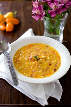 Easy vegan corn and bell pepper soup recipe. Make with fresh or frozen corn, Healthy comfort food from EatingRichly.com