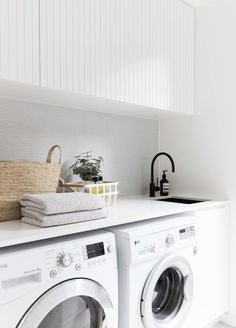 2 in Twelve Forever Home Bathrooms modern white laundry, matte black faucet, modern farmhouse laundry White Laundry Rooms, Modern Laundry Rooms, Small Laundry, Laundry In Bathroom, Laundry Decor, Laundry In Kitchen, Modern White Bathroom, Laundry Area, Room Kitchen
