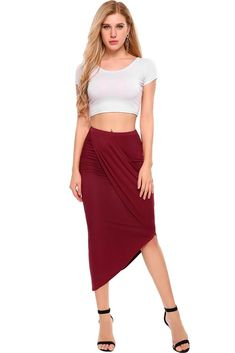 Zeagoo Women's High Waist Pleated Skirt Stretchy Irregular Slits Pencil Skirt - best woman's fashion products designed to provide Gray Skirt, Pleated Skirt, Assymetrical Skirt, Denim Skirt Outfits, All Fashion, Fashion Moda, Womens Fashion, Sexy, High Waist
