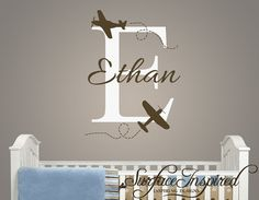 Could it be any more perfect for my Ethan?? I don't think so! || Name Wall Decal - Airplane Monogram Wall Decals for Nursery - Custom wall words 688